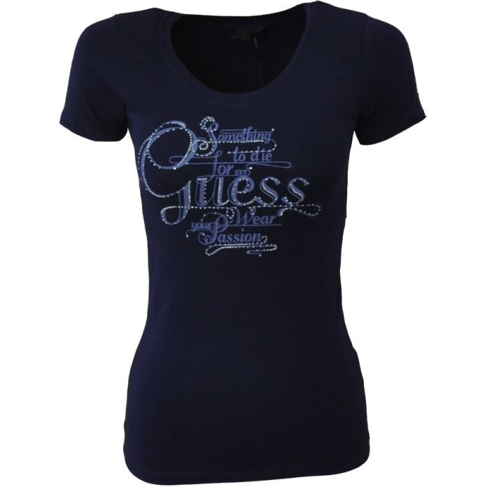 t shirt femme guess blanc bleu marine bleu achat vente t shirt cdiscount. Black Bedroom Furniture Sets. Home Design Ideas