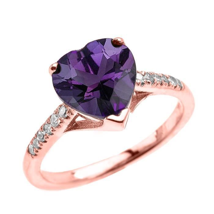 bague diamant rose violet