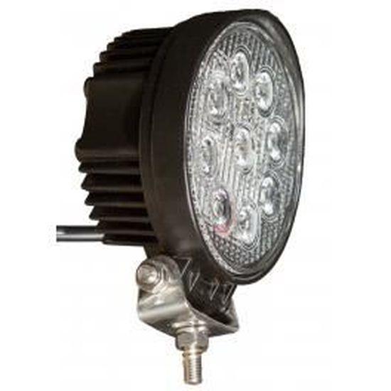 Projecteur LED rond noir 27W ext/érieur IP67