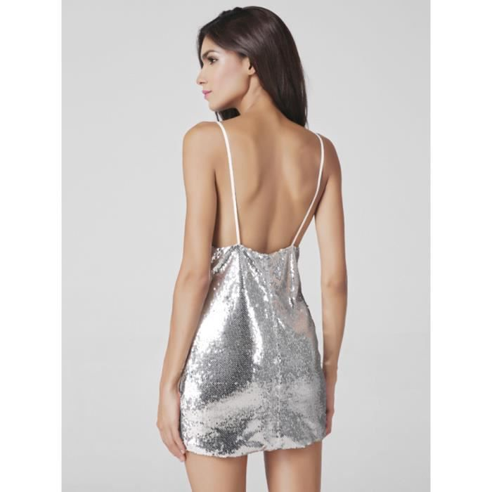 Lztlylzt Femmes Mini Robe Sexy Sequins Backless Sans Manches V-cou
