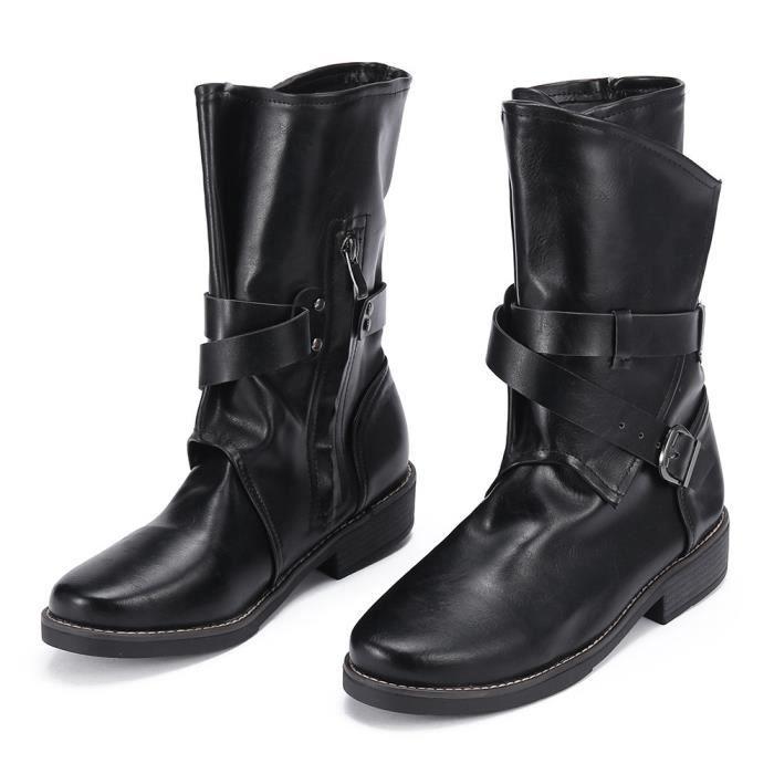 Mode moyen Bottes militaire Femmes Boucle Artificial Chaussures en cuir Patchwork