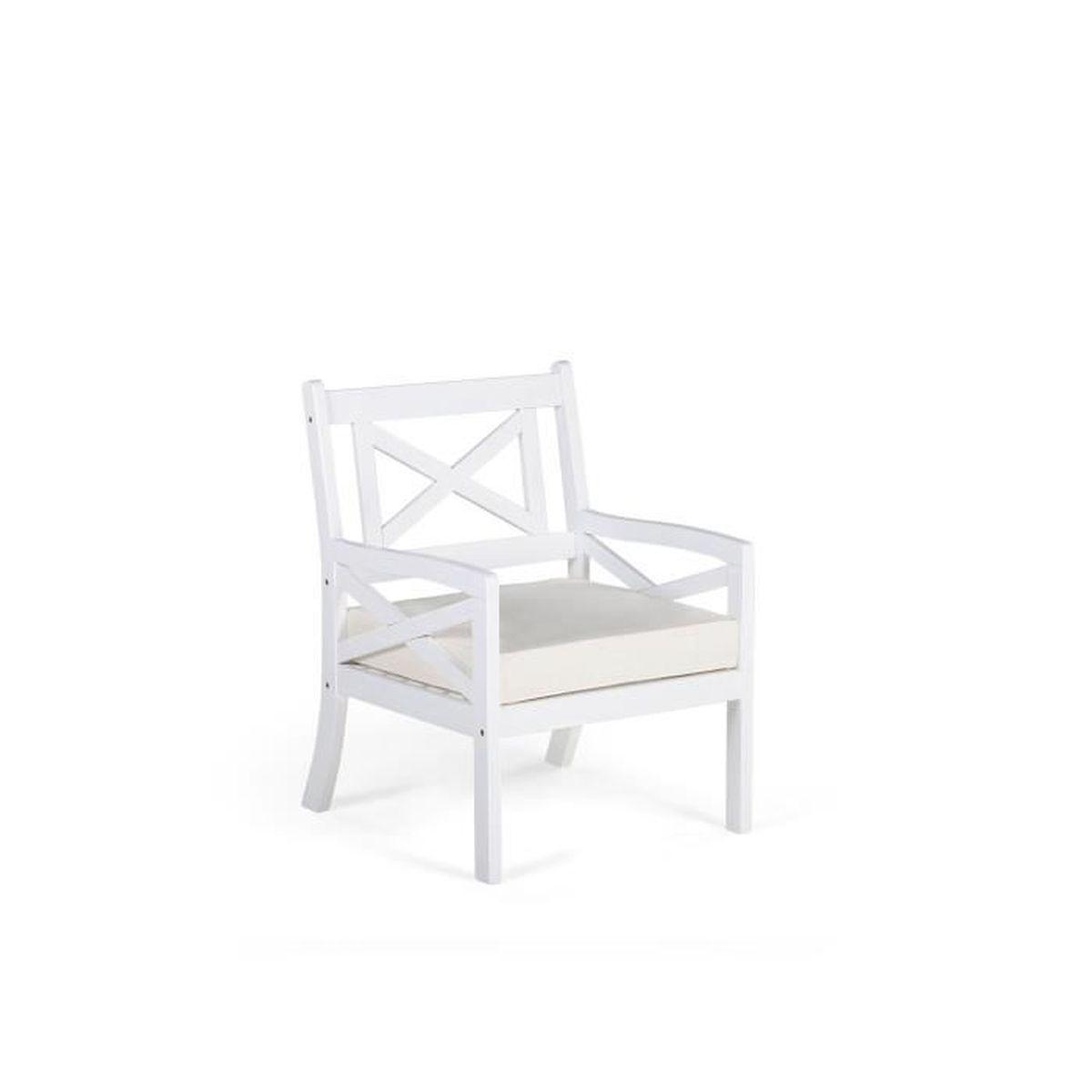 Beliani - Fauteuil de jardin en bois blanc avec coussin beige