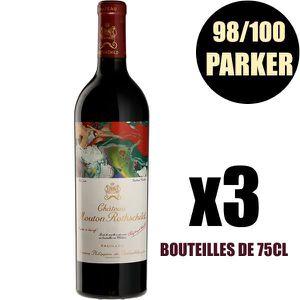 VIN ROUGE X3 Château Mouton Rothschild 2015 75 cl AOC Pauill