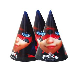 Piñata 6 Chapeaux de fête Ladybug 16 x 11 cm