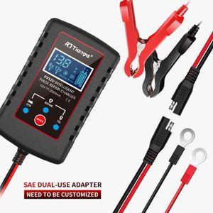 3A Noir Chargeur de Batterie Automatique en Plastique Chargeur de Batterie 6V 12V Mainteneur de Batterie Chargeur de Batterie Portable Universel pour Voiture Moto Camion Bateau