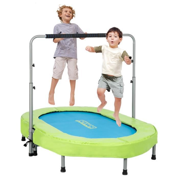 Trampoline fitness hauteur réglable pour Deux personne (142 * 92 * 128)cm Vert Bleu