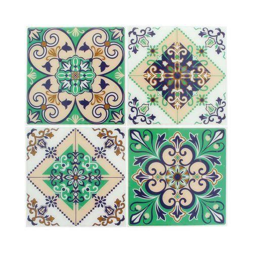 Sticker mosaïque autocollant 12,5cm carreaux ciment 1 - Artémio Multicolore - Assort.