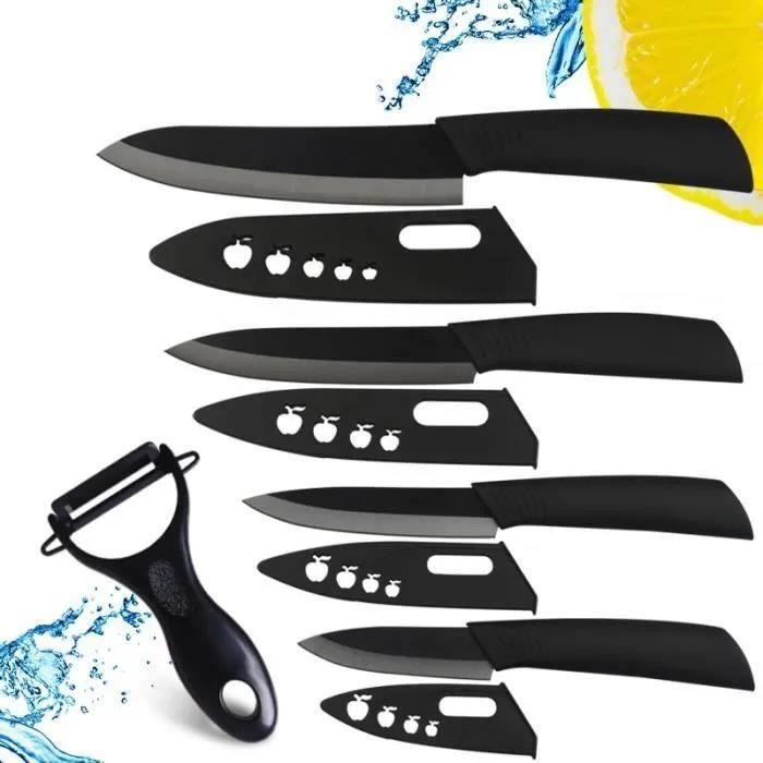 couteau en céramique mis 6 pouces à 5 pouces 4 -3- des couteaux de couteau avec gaine de zircone éplucheur.
