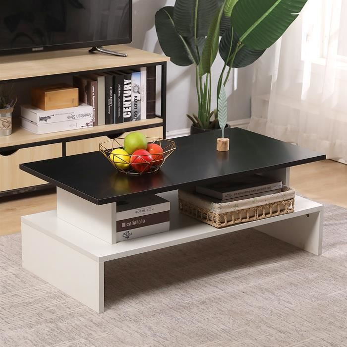 YISHANG Table Basse - Noir/Blanc - 97 x 51 x 38 cm Design Simple Moderne S'accorde parfaitement à tout style de salon