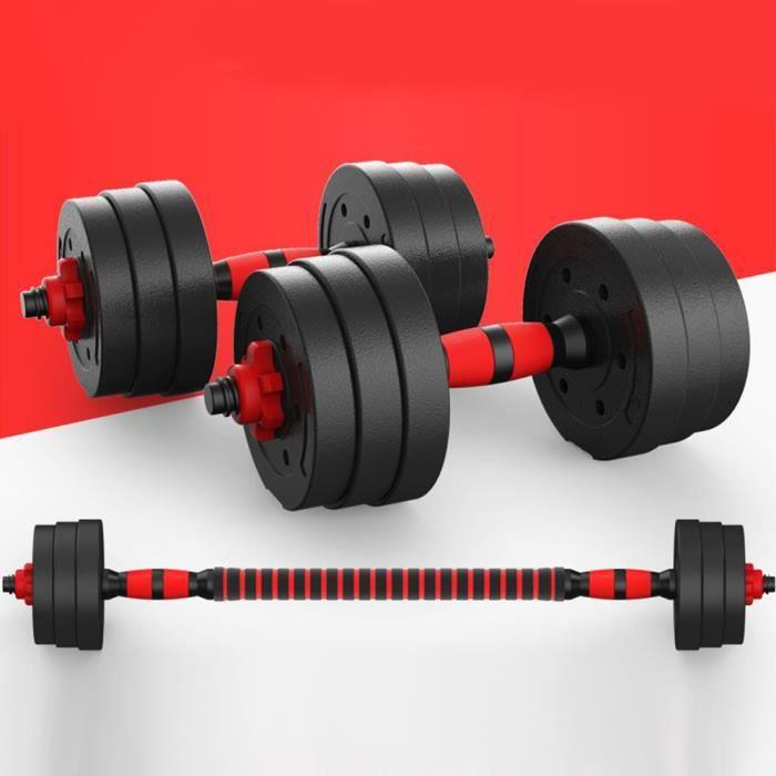 Lot de 2 Haltères de Musculation Poids réglable ,avec 12 disques(2kg*4+1.5kg*4+1.25kg*4) Totale 20 kg Barre Allongeable