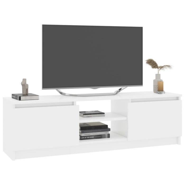 HAO Meuble tv - Meuble de salon ,Blanc brillant 120 cm Aggloméré