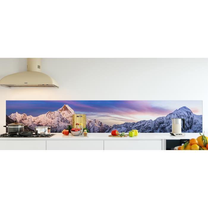 Crédence de cuisine adhésive en Panneau composite aluminium -Panorama de l'Annapurna sanctuaire de l'Himalaya, Népal- L. 300 x H...