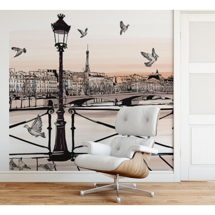 Papier peint finition satiné pré-encollé -Dessin coucher de soleil sur la Seine, Pont des arts, Paris- L, 274 x H, 270 cm