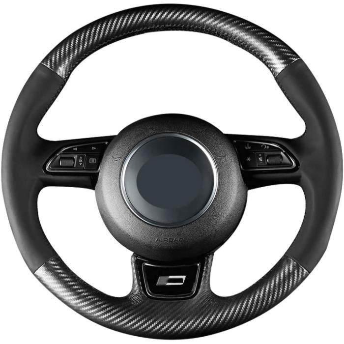 Couvre-Volant en Fiber de Carbone PU Noir Bricolage intérieur de Voiture Cousu à la Main, pour Audi A5 (8T) Sportback (coupé) 2012-2