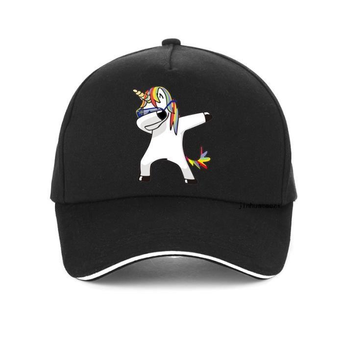Black -Harajuku casquette licorne drôle unisexe bande dessinée impression unicornio casquettes de Baseball de haute qualité 100% cot