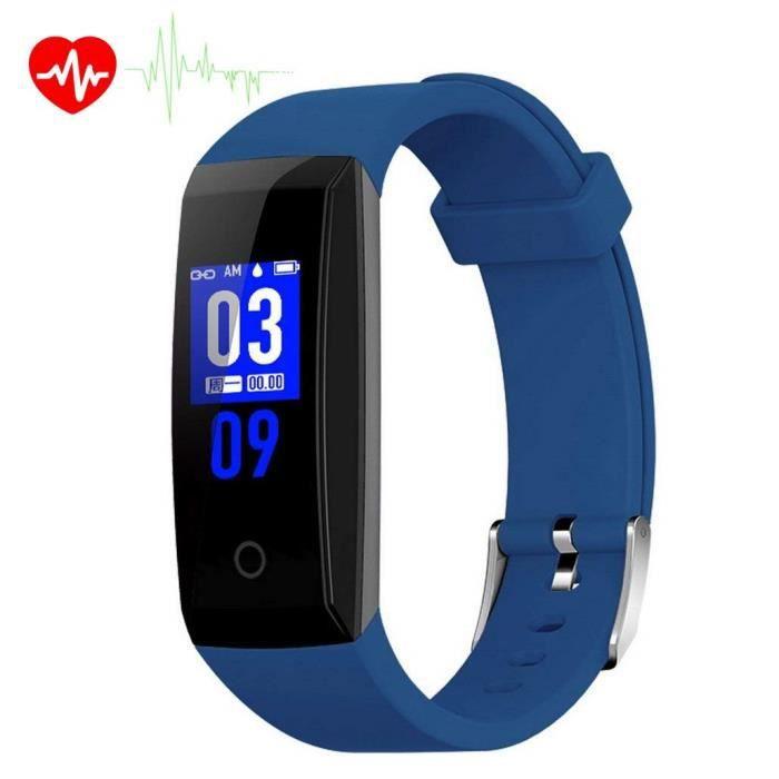 Montre Connectée, W8 Fitness tracker moniteur de fréquence cardiaque Smart Bracelet étanche Ipx7 suivi d'activité Smart Watch, Bleu