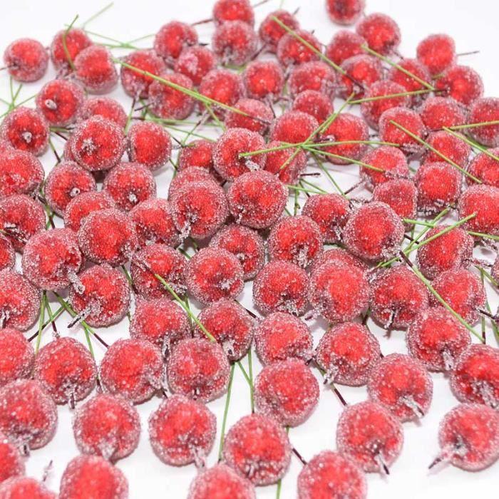 30 pièces 2cm artificielle Mini pomme faux fruits baies de verre grenade rouge cerise Bouquet étamine de noël décoratif~*LL5431