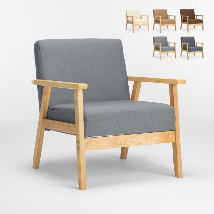Fauteuil Chaise scandinave design vintage en bois avec accoudoirs Uteplass, Couleur: Gris