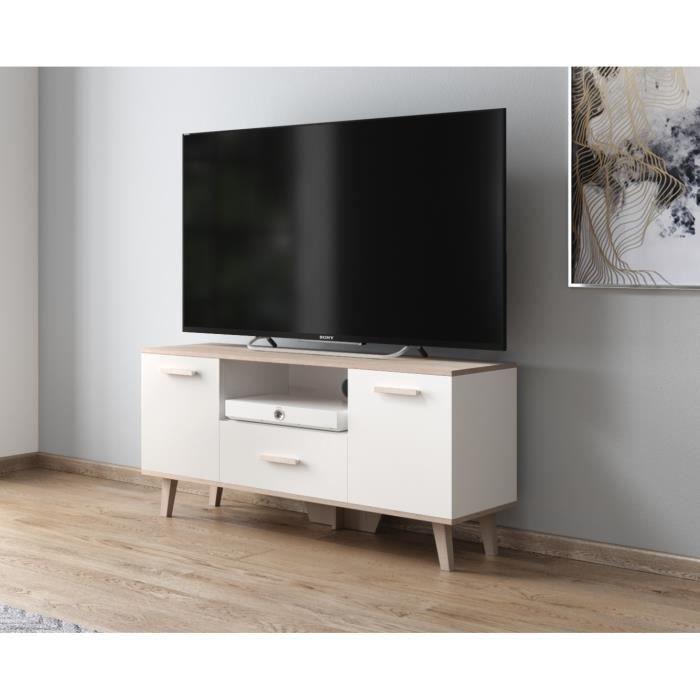 Scandinave Meuble TV - L120 - Chêne Sonoma - Blanc