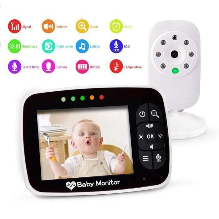 Bébé Moniteur 3.5 Inches LCD Couleur Babyphone Caméra Vidéo Bébé Surveillance 2.4 GHz Bidirectionnelle Vision Nocturne