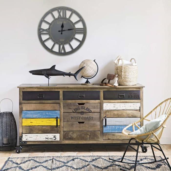 Horloge murale Gris 60 cm MDF - HORLOGE - PENDULE