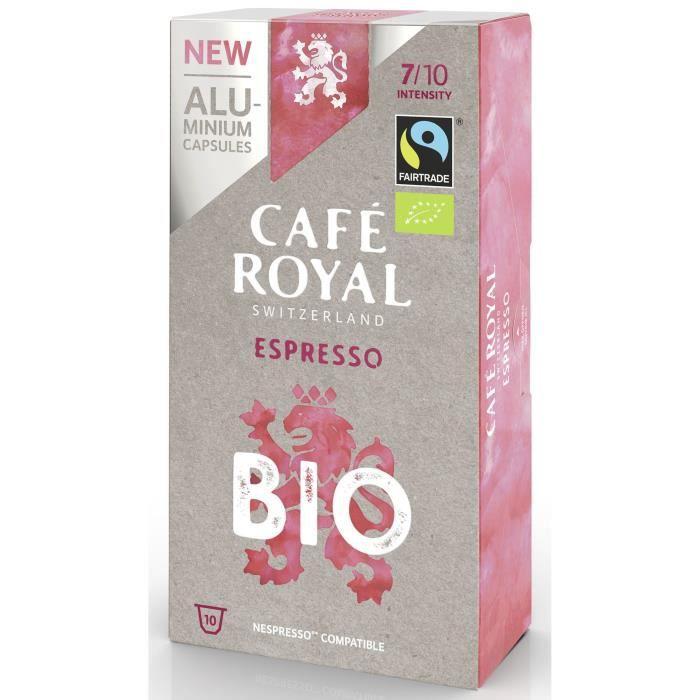 CAFE ROYAL Lot de 10 Cafés Compatible Nespresso Alu Espresso BIO - 10 dosettes