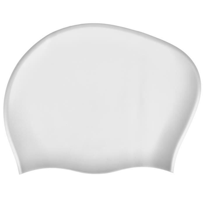 2PCS Bonnet De Natation Élastique Étanche Silicone Sport Swim Hat pour Cheveux Longs Femmes(blanc ) -CET