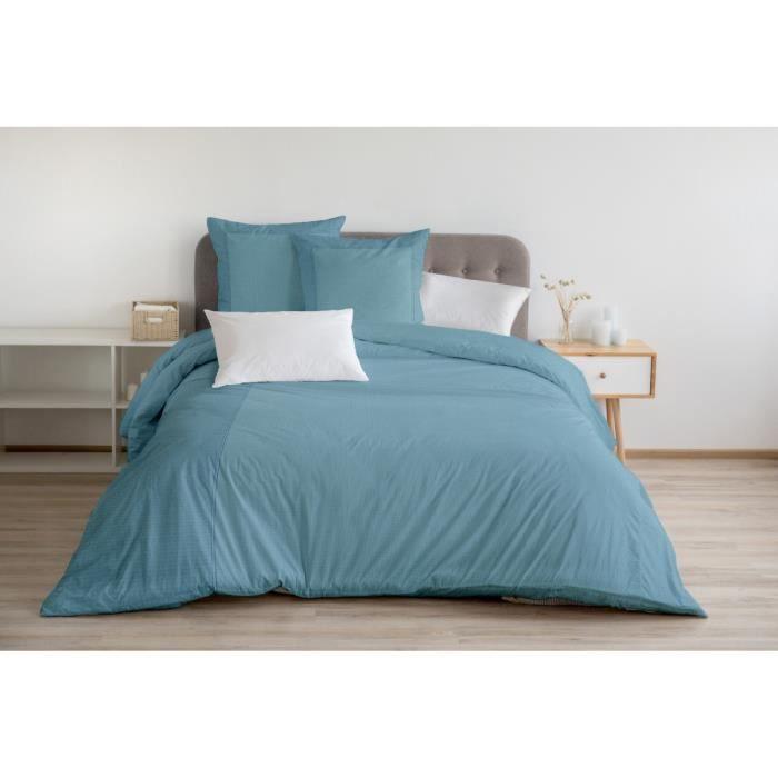 Housse de Couette 3 Pièces - 100% Coton 57 Fils - 2 Personnes 220x240 cm - FUKUOKA Bleu