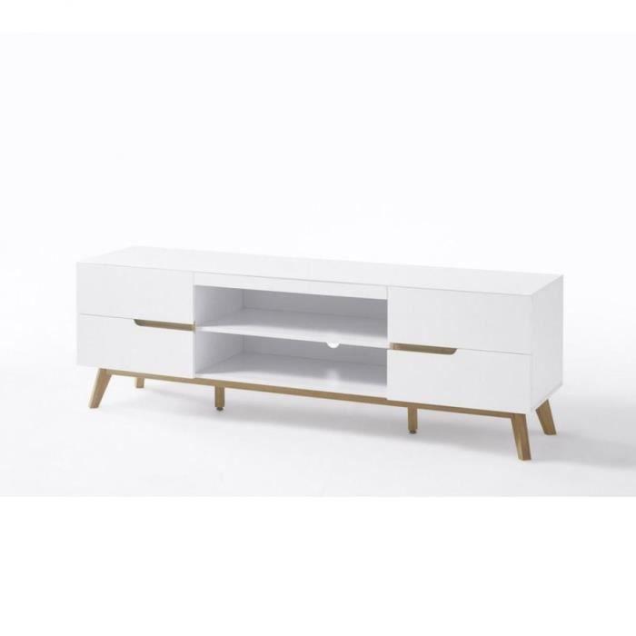 Meuble TV CACHAN blanc laque mat 4 tiroirs 2 niches piétement chêne blanc Bois Inside75