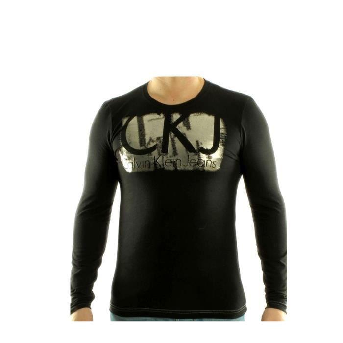 T-Shirt Calvin Klein Manches Longues pour hommes - CMP96R noir.