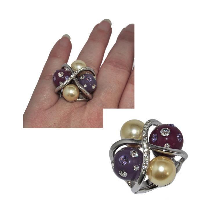 Grosse bague originale plaqué argent rhodié perles violet et nacrée T 52 bijou