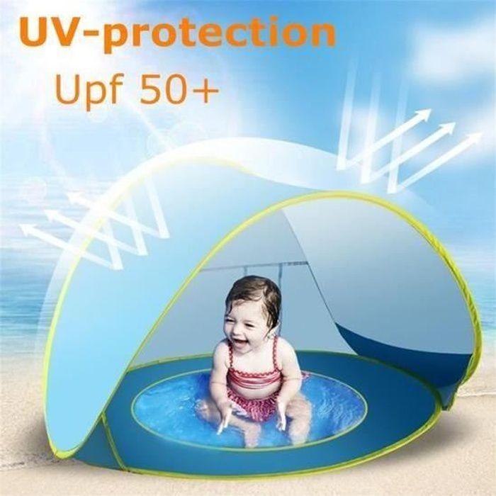 Tente Plage Anti-UV Upf 50+ Bébé Piscine Détachable Fond Etanche Camping Protection Abri