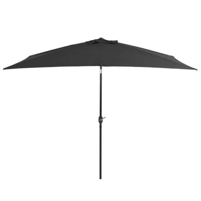 Parasol de Jardin Terrasse Imperméable avec mat en métal 300 x 200 cm Anthracite