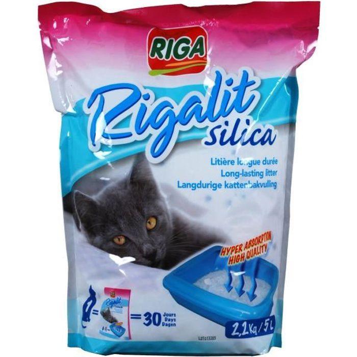 RIGA Litière silica doypack - Pour chat - 2,2kg
