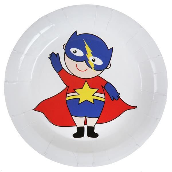 SANTEX 5250-8, Sachet de 10 assiettes super héros