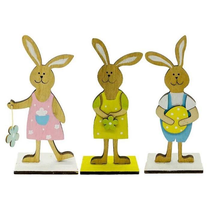 3 PièCes DéCorations de Pâques Coloré Lapin Oeuf de Pâques Bois Artisanat Jouets Cadeaux Ornements Ornements DéCoratifs