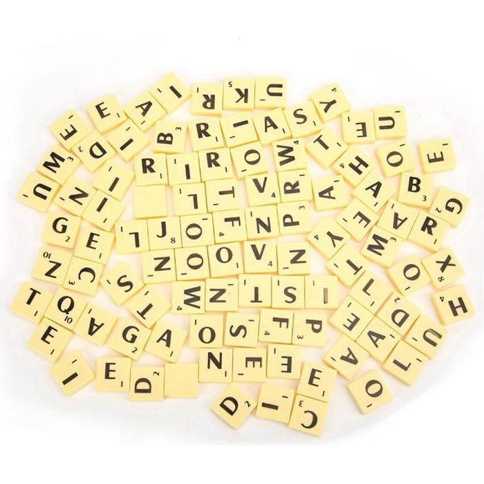 100 Pièces Bois Carrés de Scrabble Noir Nombre de Lettres pour L/'Artisanat