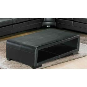 Table basse en cuir noir havane achat vente table basse table basse en cu - Table basse simili cuir ...