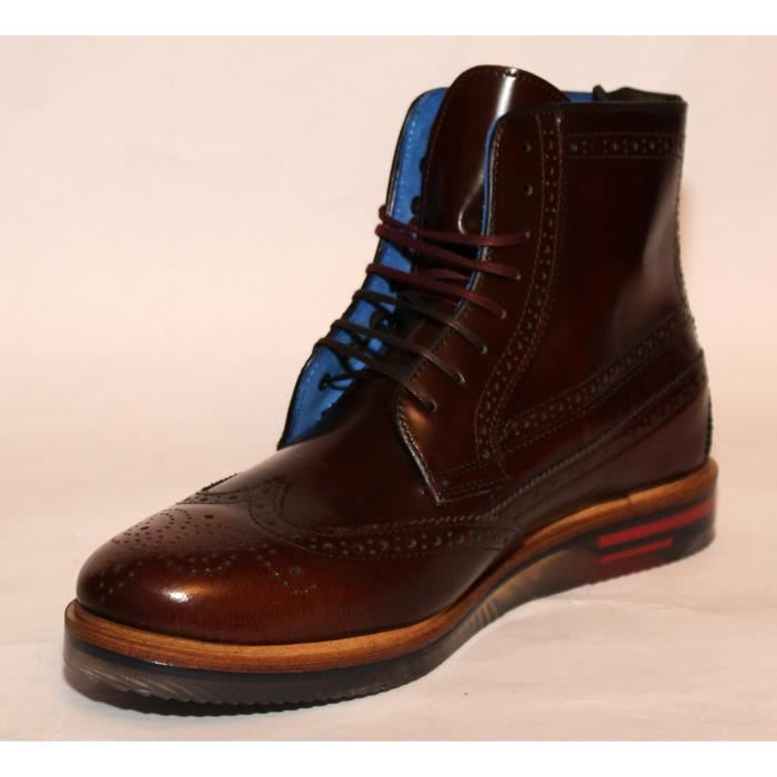 BOTTES HOMME CHAUSSURES LUXE CUIR MARRON T 41 NEUVES