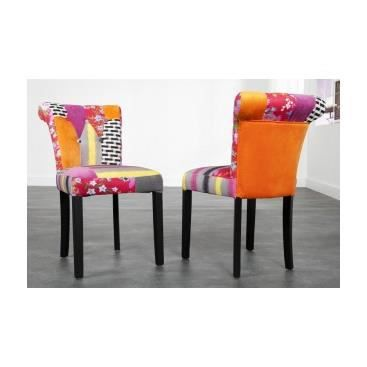 lot de 2 chaises design pas cher de salle manger chaises patchwork dalila achat vente. Black Bedroom Furniture Sets. Home Design Ideas