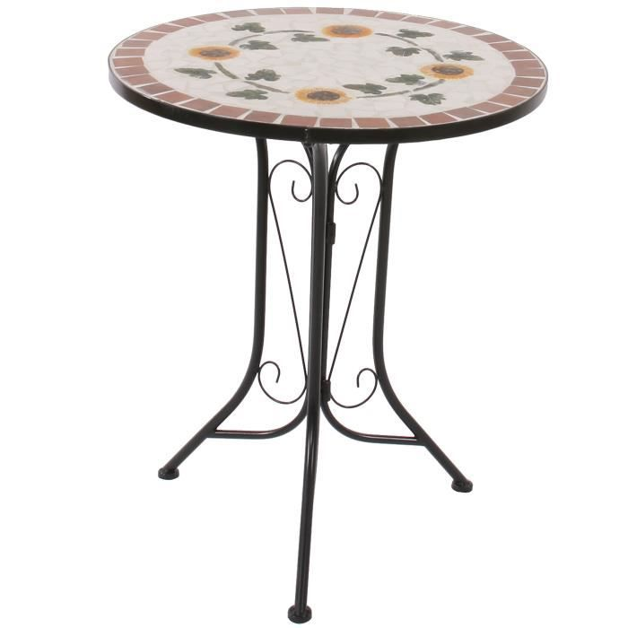 Table mosaique andria t211 table de jardin bistro 60cm fleur achat vente table de for Achat table de jardin mosaique