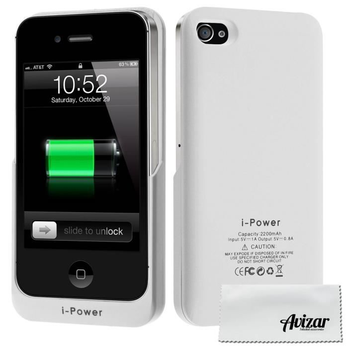 coque batterie apple iphone 4 4s 2200mah blanc achat. Black Bedroom Furniture Sets. Home Design Ideas