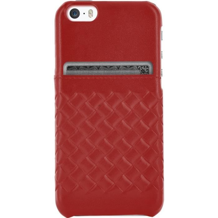 bigben connected coque iphone 5s en cuir rouge