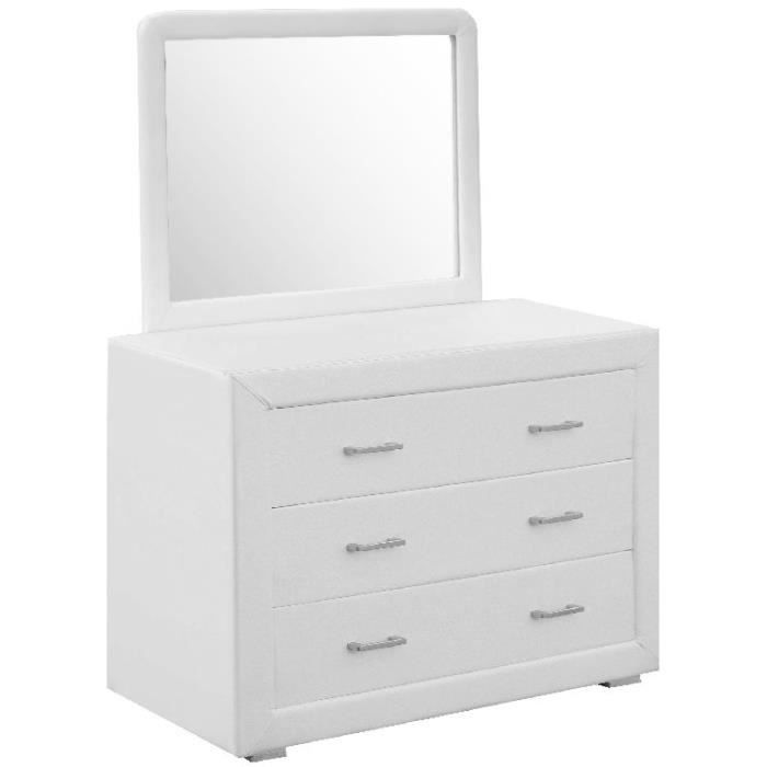 commode avec miroir norane blanc achat vente commode de chambre commode avec miroir norane. Black Bedroom Furniture Sets. Home Design Ideas