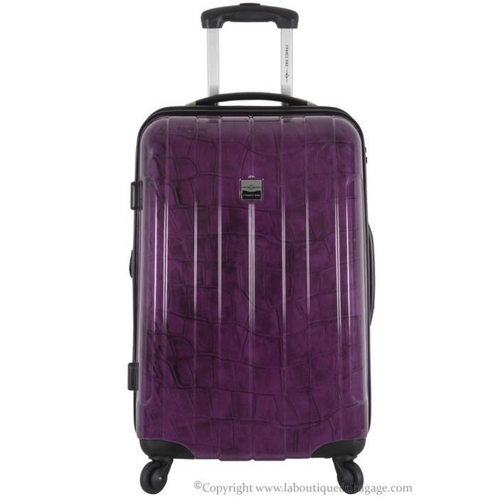 france bag valise rigide moyen s jour cancun aubergine crocodile violet achat vente valise. Black Bedroom Furniture Sets. Home Design Ideas