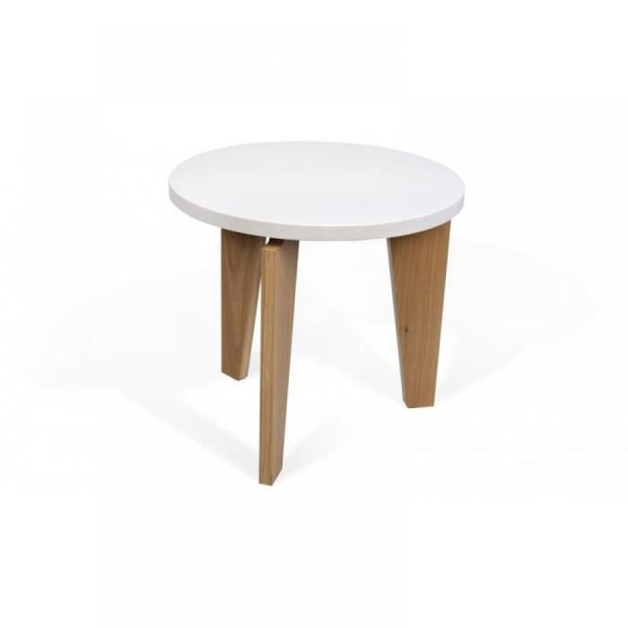 Flower table basse blanche pi tement ch ne massif achat - Tables basses blanches ...