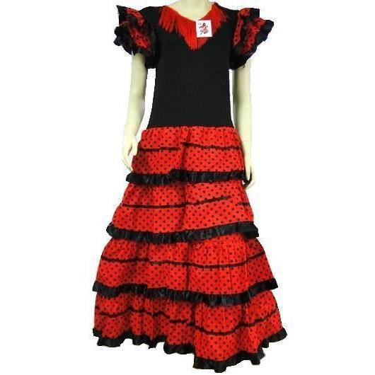 1d434704c963e Robe de danse flamenco adulte traditionnelle a pois fille rouge Noir ...