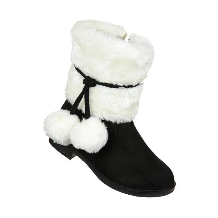 Boots Fourrées Pompons Noir Achat Vente botte Cdiscount