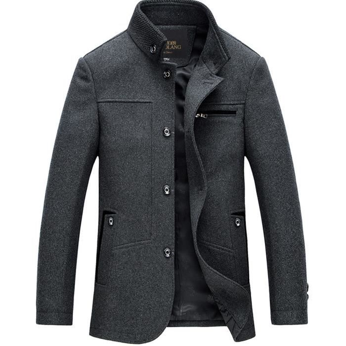 blouson homme de laine casual veste manteau gris gris. Black Bedroom Furniture Sets. Home Design Ideas
