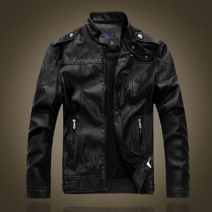 blouson homme cuir moto veste hiver parka marque luxe doublure matelass casual jacket leather. Black Bedroom Furniture Sets. Home Design Ideas